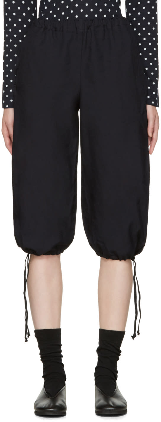 Comme Des Garcons Girl Navy Twill Drawstring Trousers