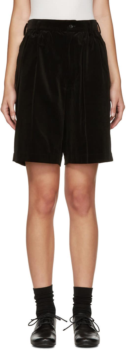 Comme Des Garcons Girl Black Velveteen Shorts