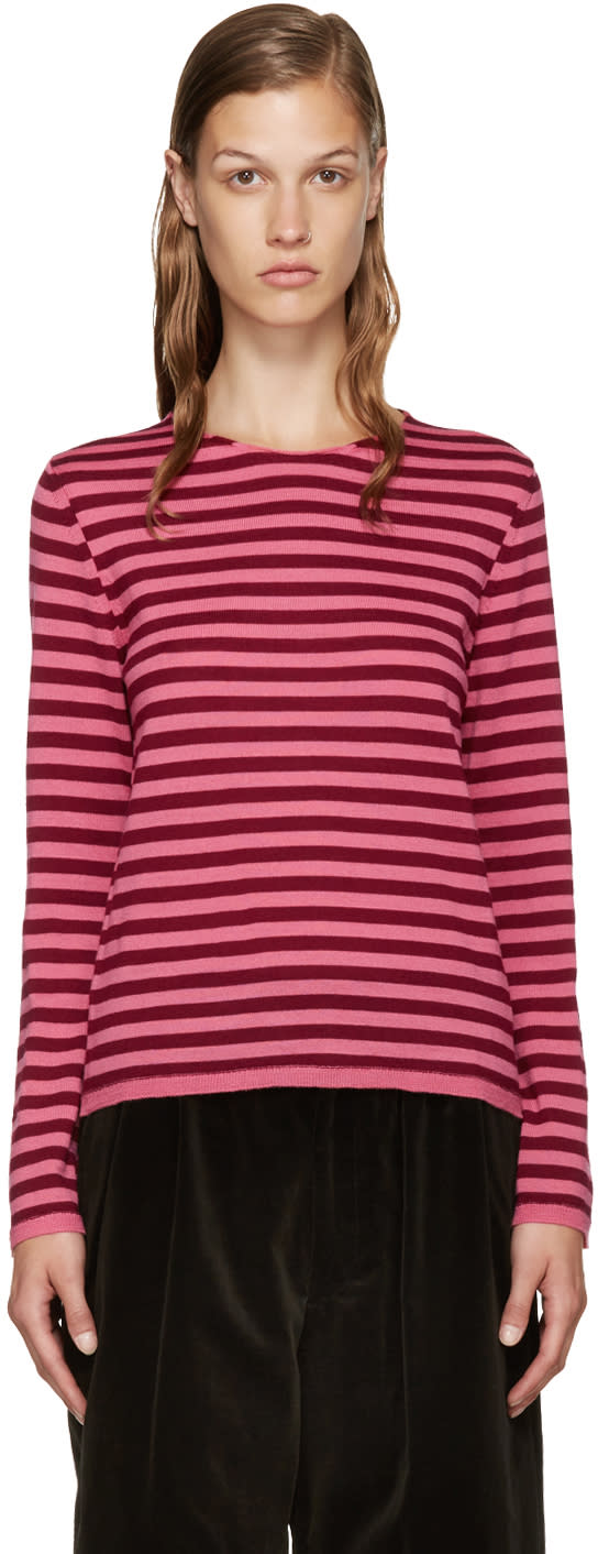 Comme Des Garcons Girl Pink and Burgundy Wool Sweater