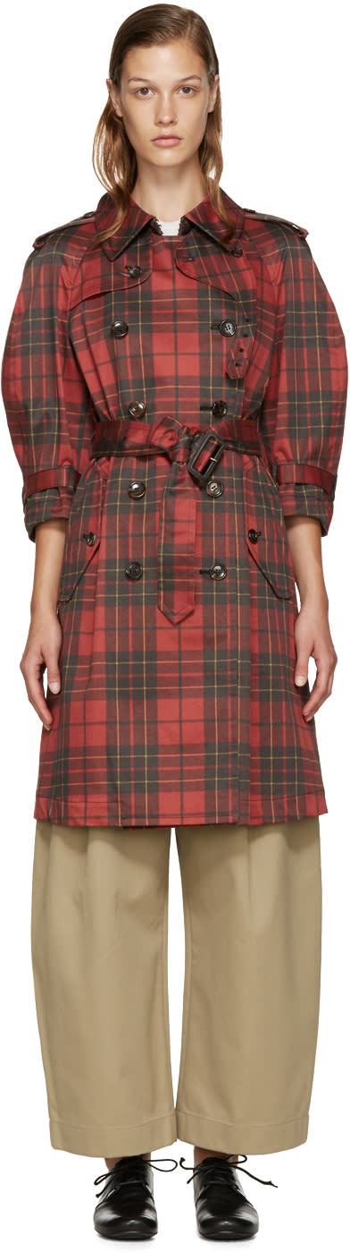 Comme Des Garcons Red Plaid Trench Coat