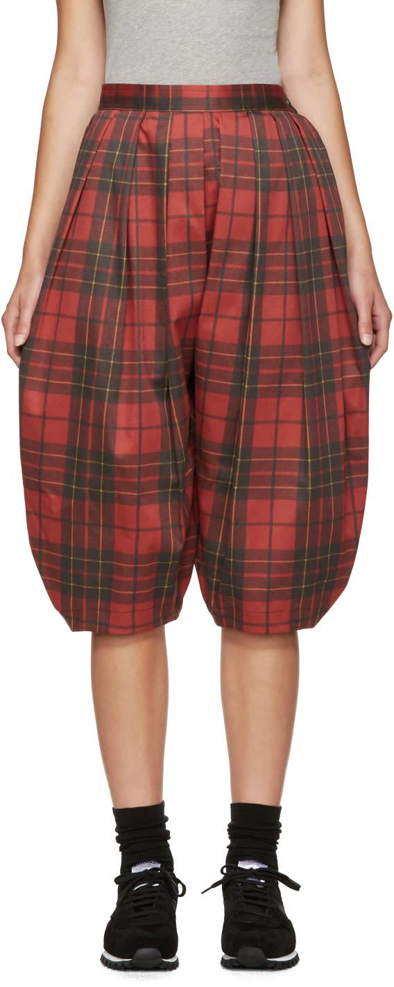 Comme Des Garcons Red Plaid Volume Trousers