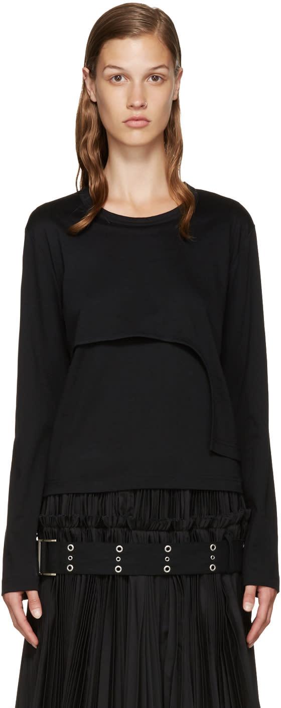 Noir Kei Ninomiya Black Asymmetric Layered T-shirt