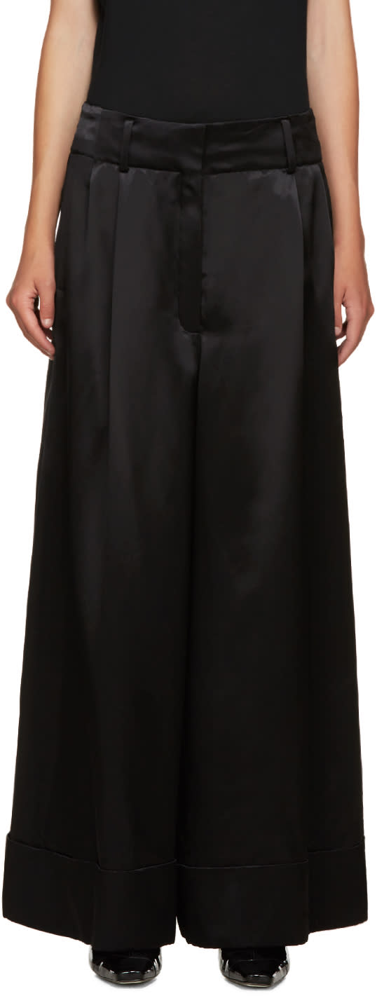 Loewe Black Wide-leg Satin Trousers