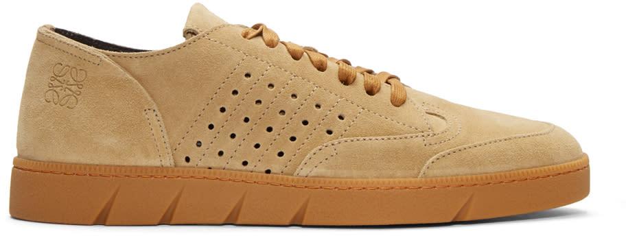 Image of Loewe Beige Suede Sneakers