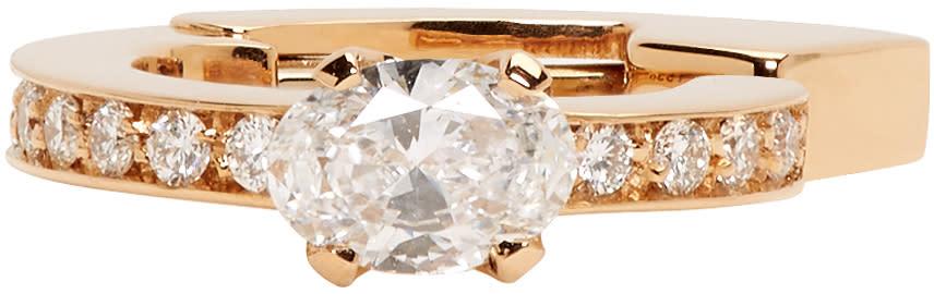 Repossi Rose Gold 1 Diamond Serti Sur Vide Ear Cuff