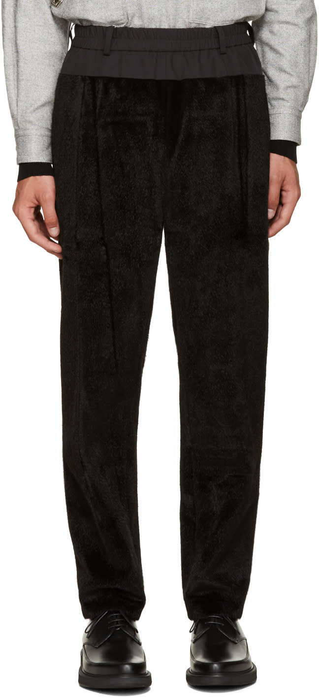 Toga Virilis Black Faux-fur Lounge Pants