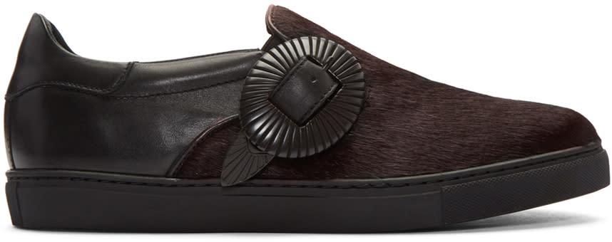 Toga Virilis Black Calf-hair Western Slip-on Sneakers