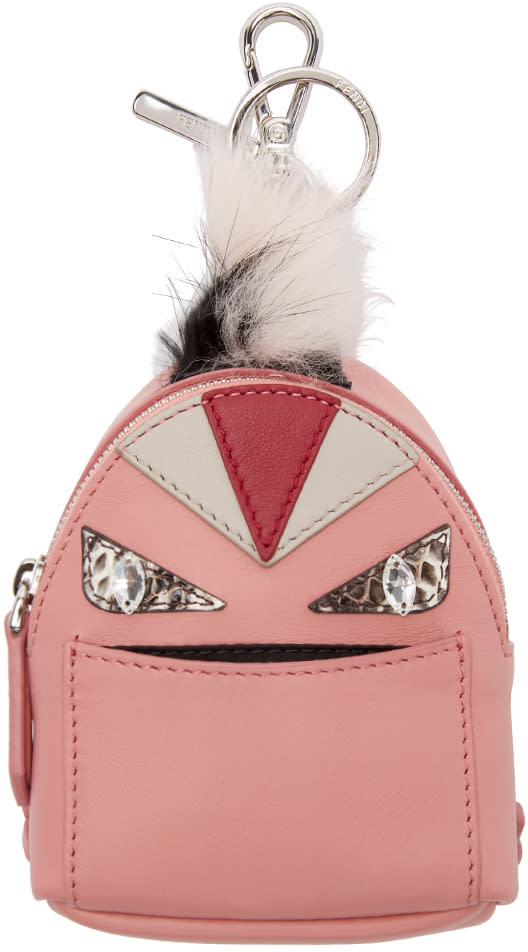 Fendi Pink Fur-trimmed Charm Wonders Backpack Keychain