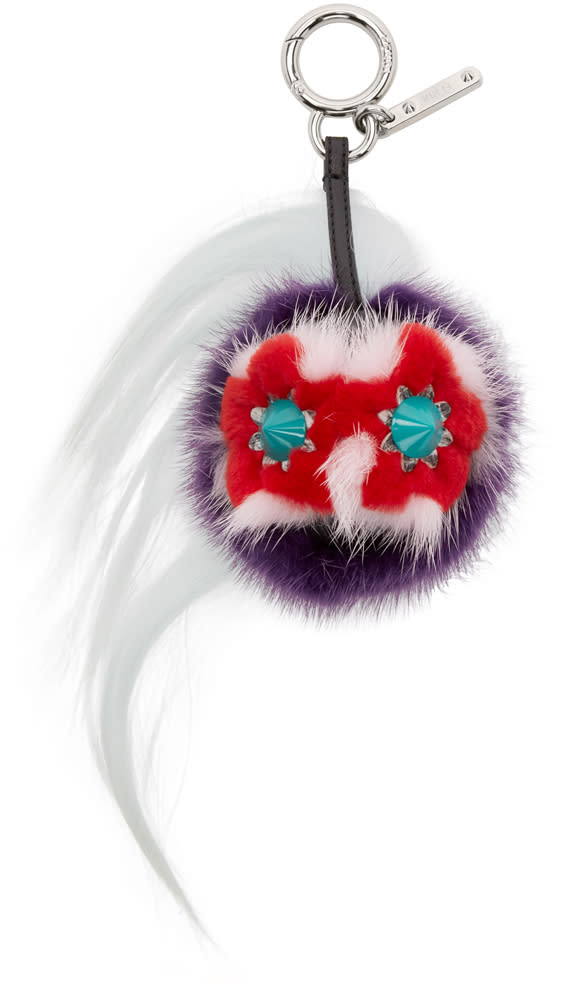 Fendi Multicolor Fur-trimmed Mini Bug Keychain