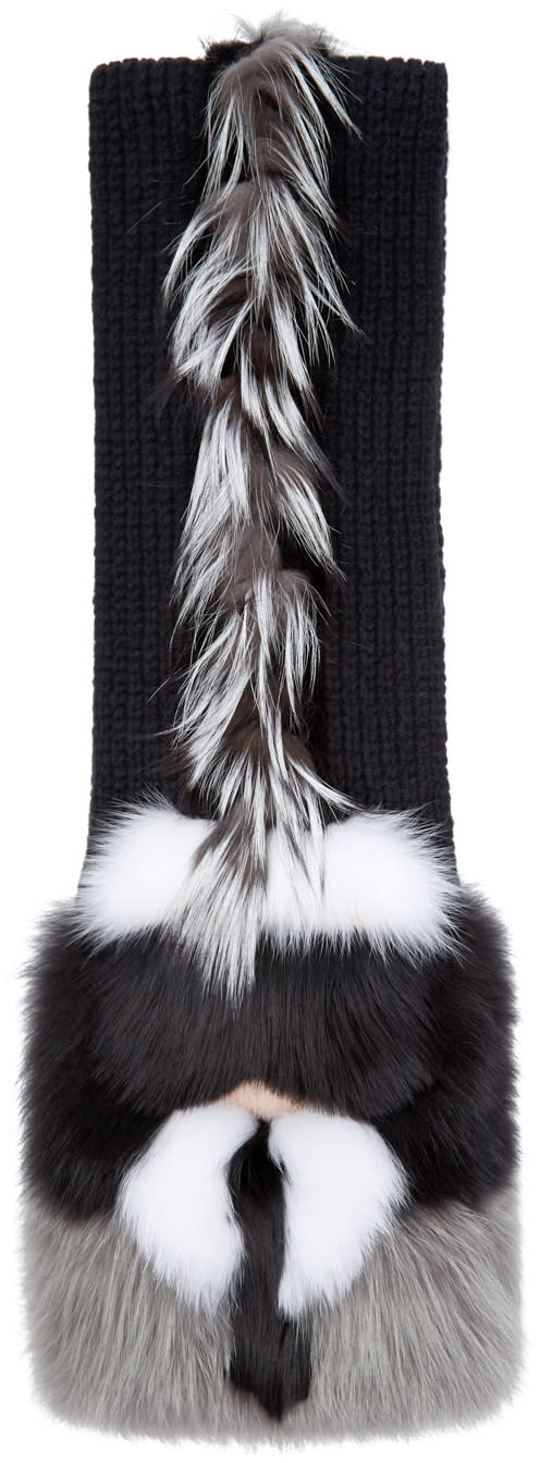 Fendi Black Fox Fur-trimmed Karlito Scarf