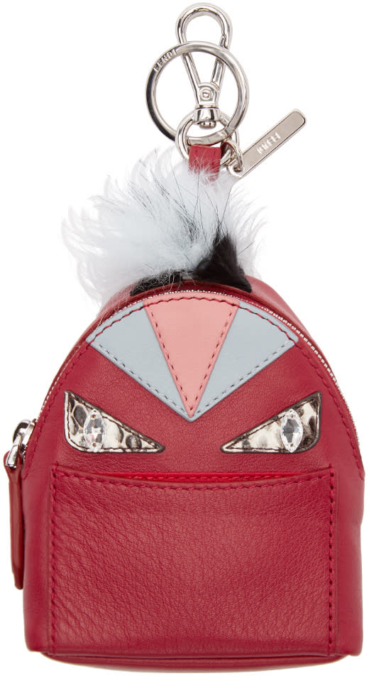 Fendi Red Fur-trimmed Charm Wonders Backpack Keychain