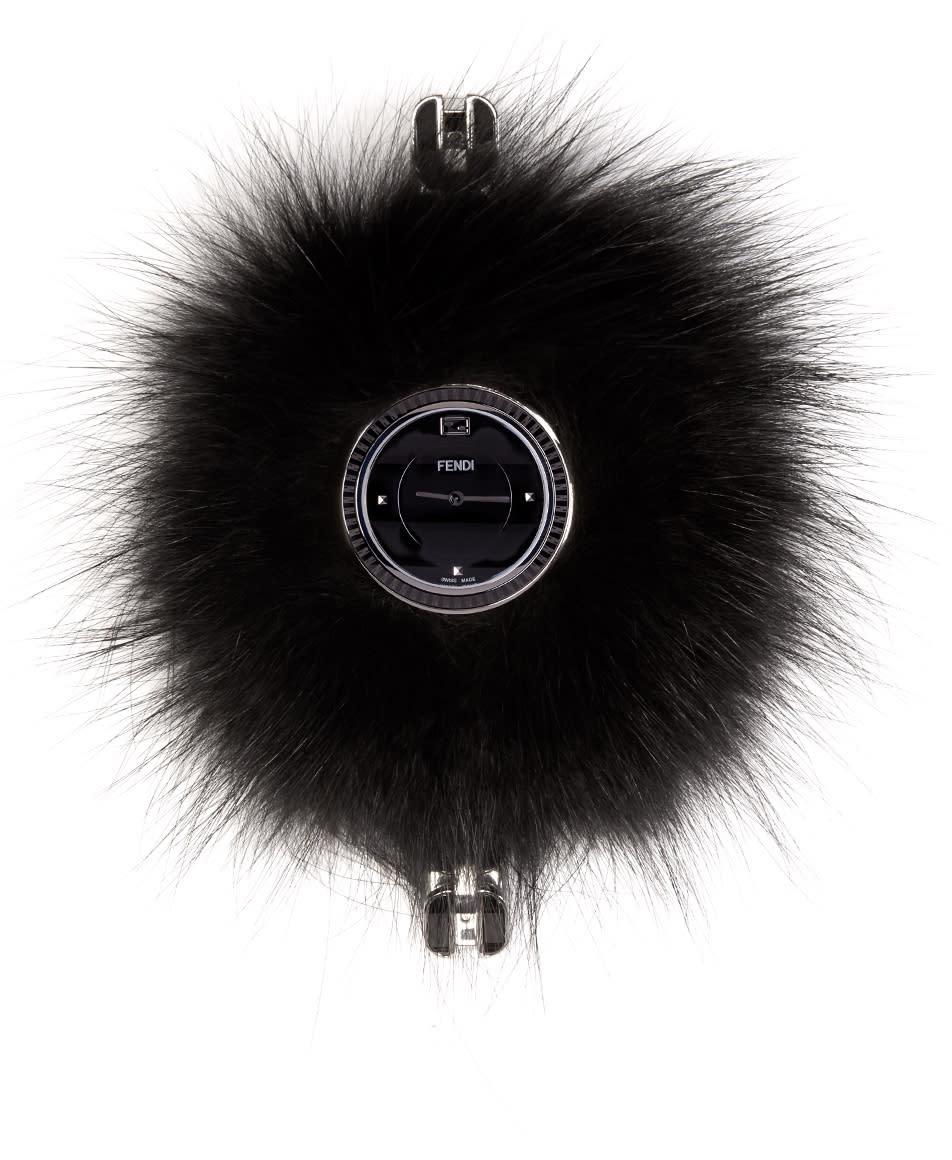 Fendi Silver and Black My Way Fur Glamy Watch
