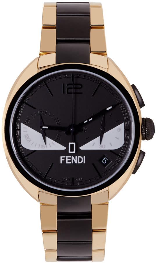 Fendi Gold and Black Momento Bugs Watch