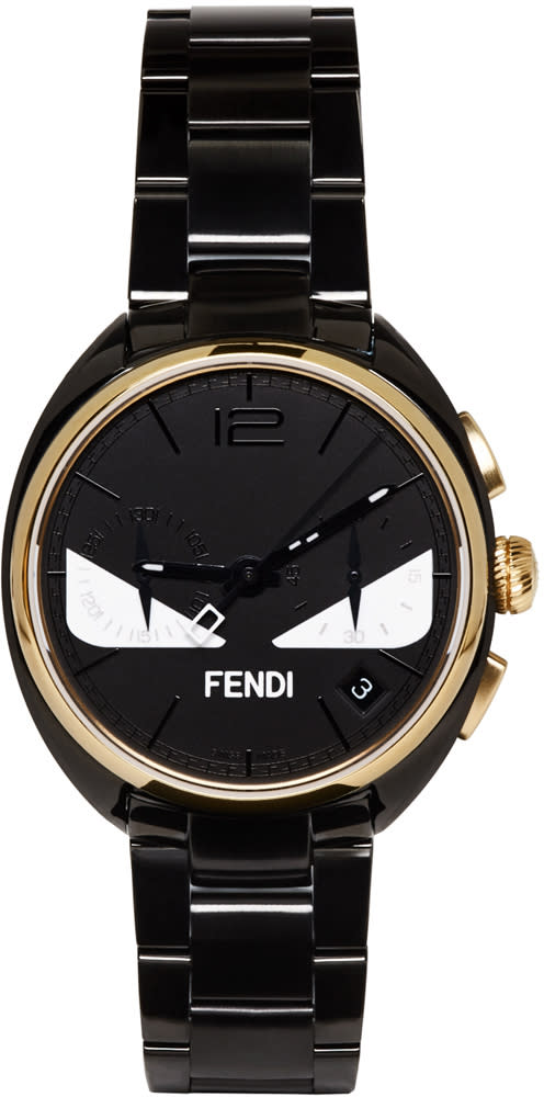 Image of Fendi Black and Gold Momento Bugs Watch