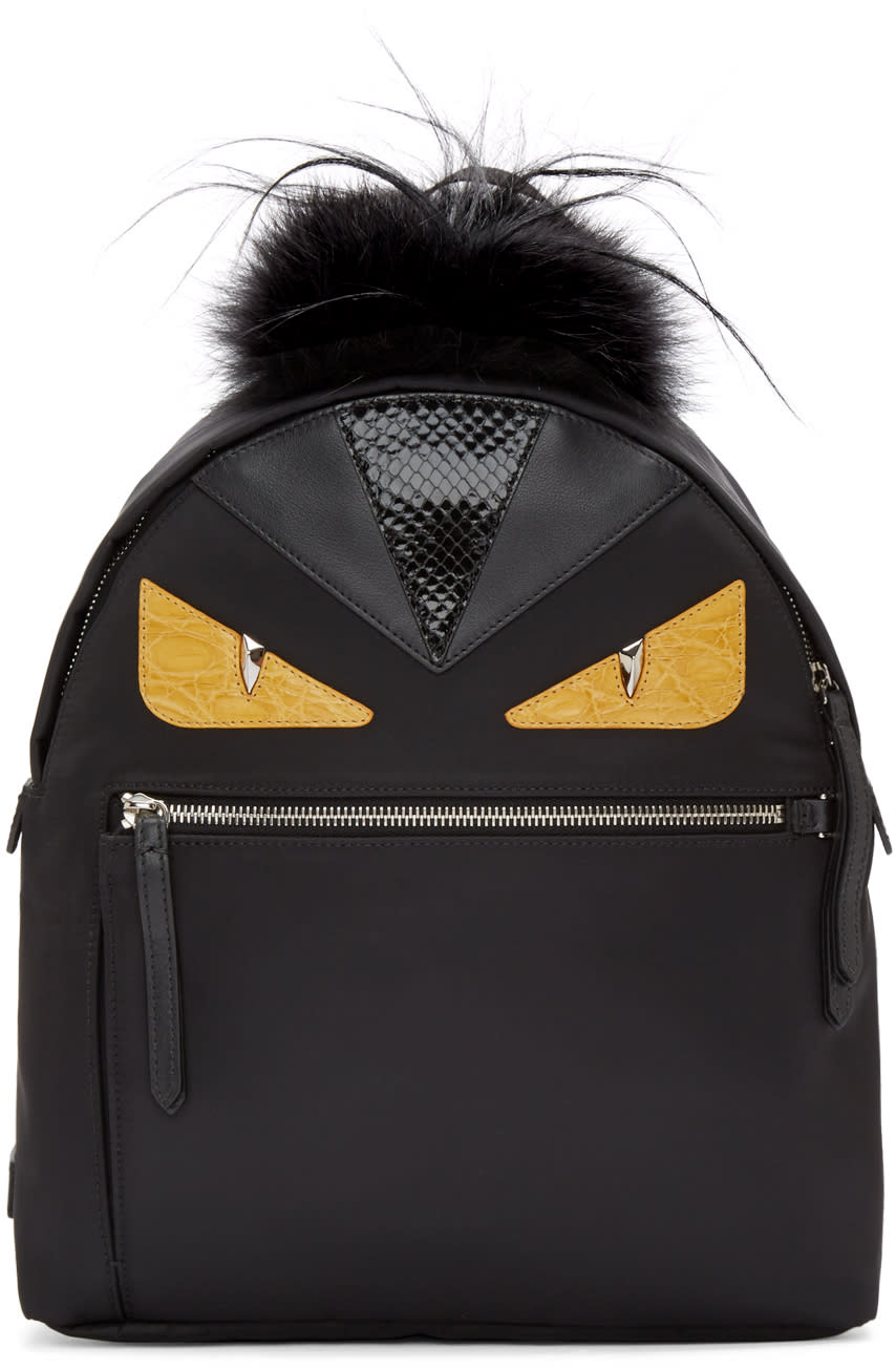 Fendi Black Nylon Eyes Medium Backpack