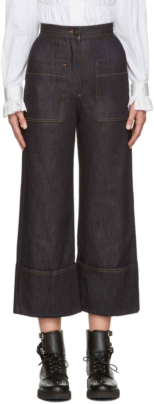Fendi Navy Wide-leg Jeans