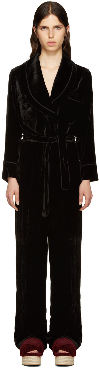 Fendi Black Velvet Tuxedo Jumpsuit