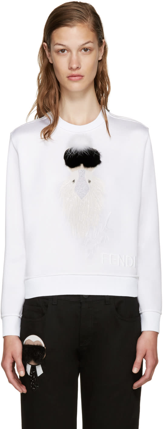 Fendi White Cropped Karlio Sweater
