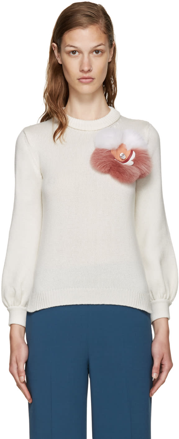 Fendi Ivory Cashmere Floral Sweater