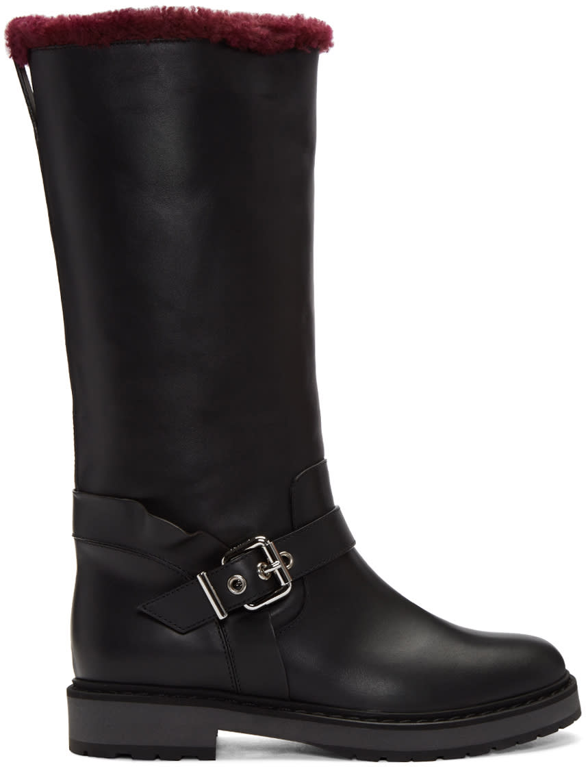 Fendi Black Sheepskin Waves Boots