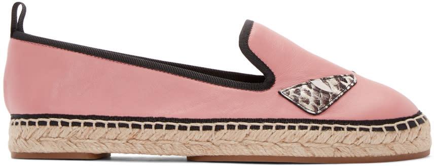 Fendi Pink Leather Bug Eyes Espadrilles