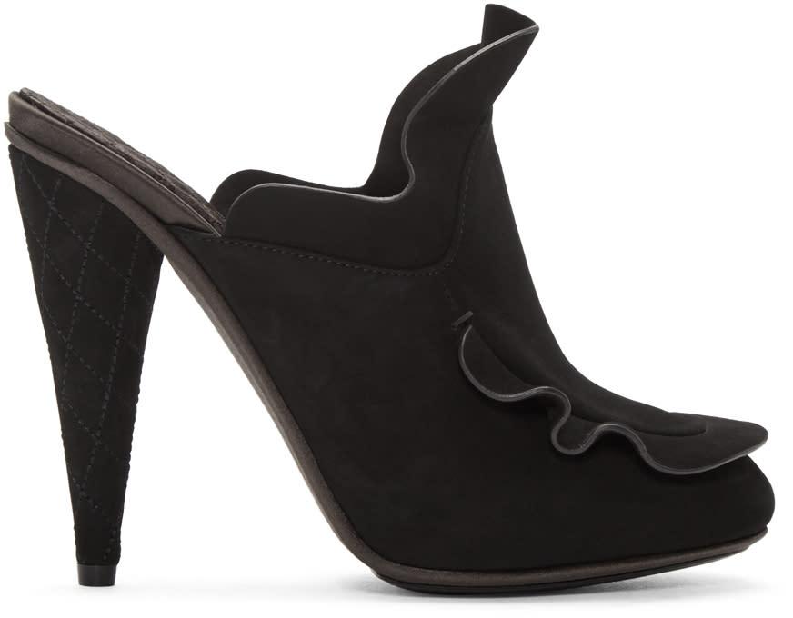 Fendi Black Suede Waves Mules