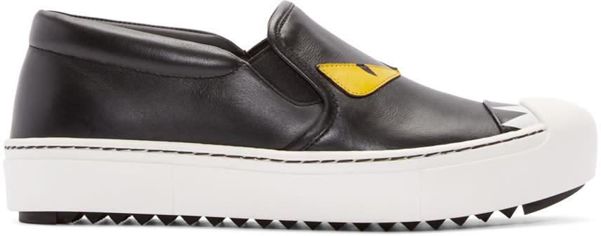 Fendi Black Bug Eyes Slip-on Sneakers