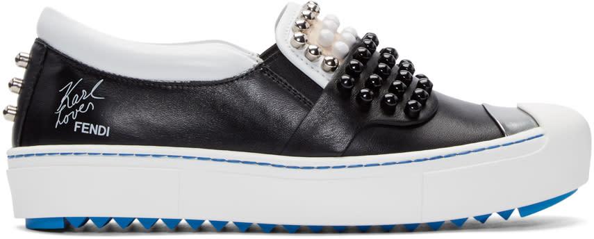 Fendi Black Leather Studded Karlito Sneakers
