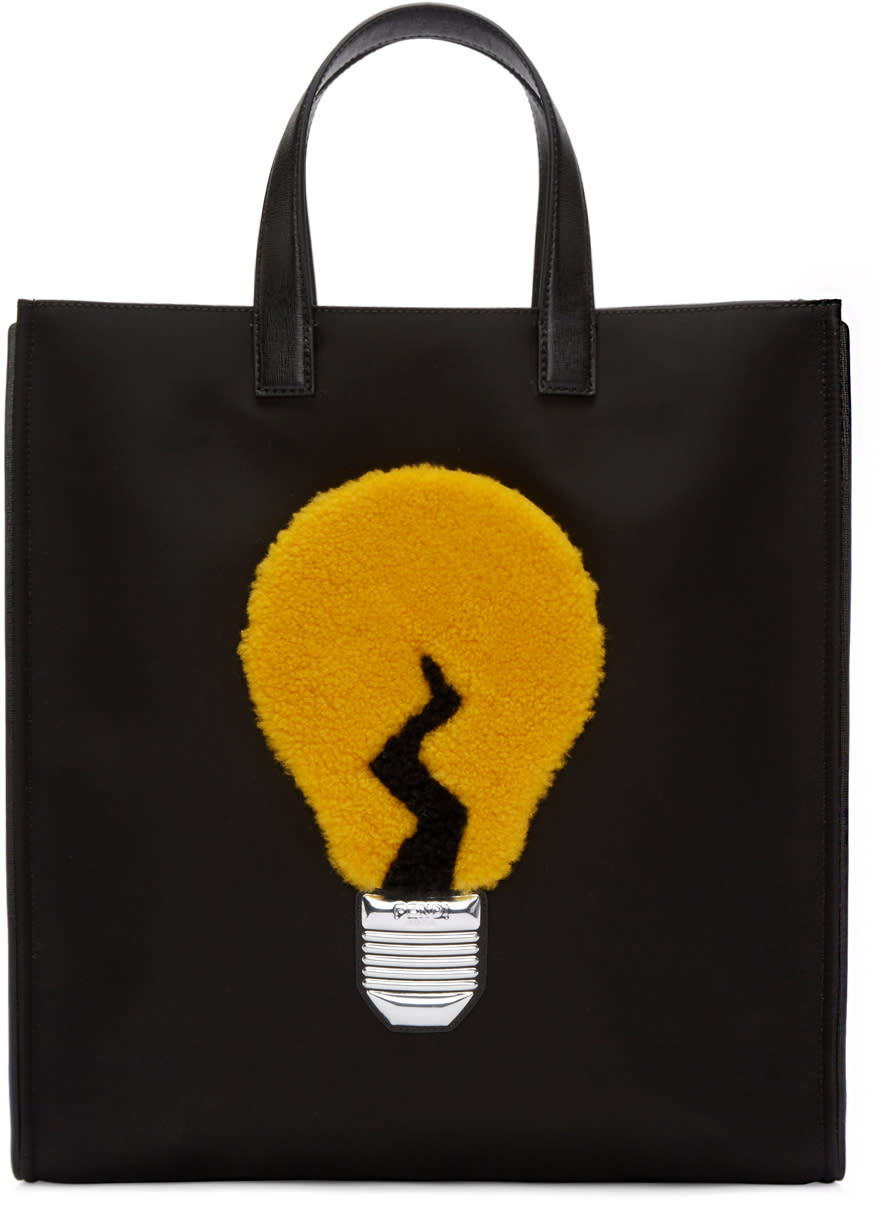 Fendi Black Nylon Lamp Tote