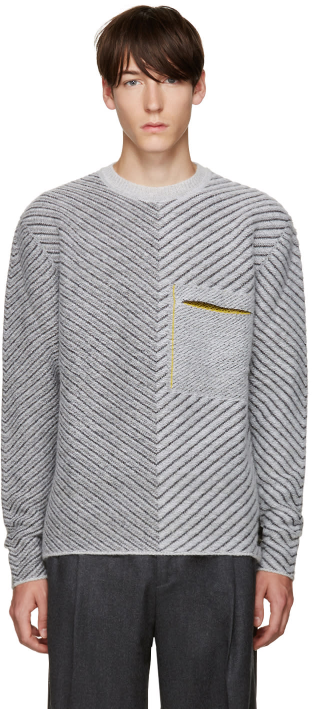 Fendi Grey Diagonal Knit Sweater