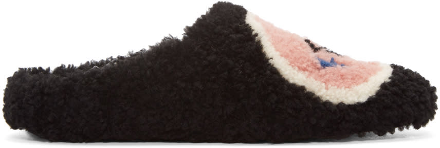 Fendi Black Shearling Loafers