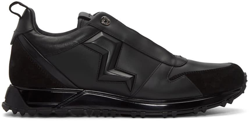 Fendi Black Leather Bolt Sneakers