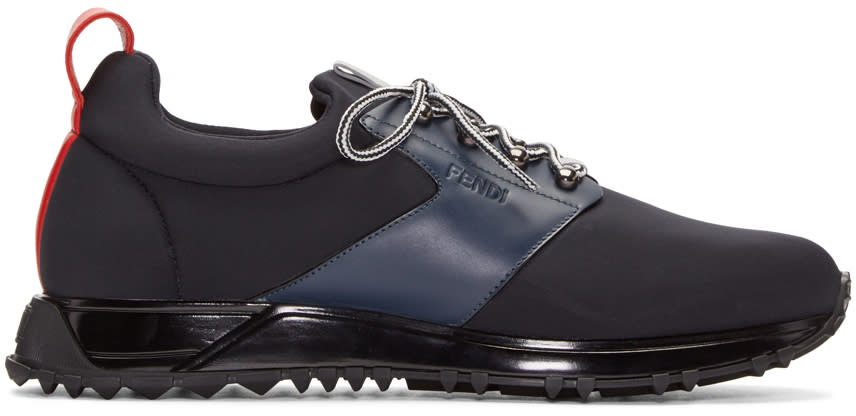 Fendi Navy Neoprene Sneakers