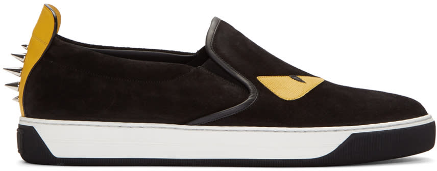 Fendi Black Studded Monster Sneakers
