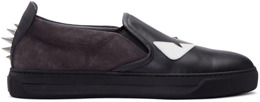 Fendi Black Monster Slip-on Sneakers