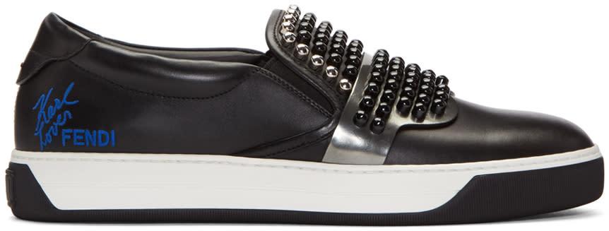 Fendi Black Studded Karlito Sneakers