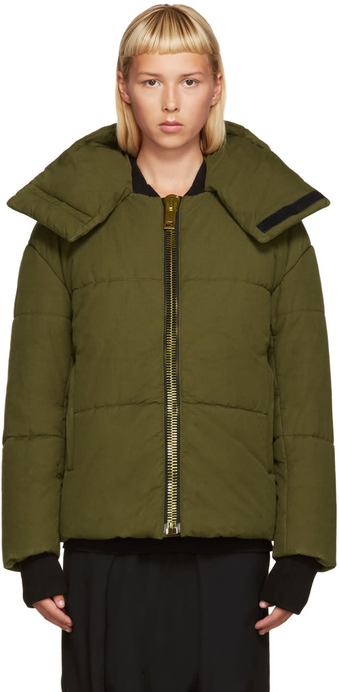Palm Angels Green Down Maxi Puller Jacket