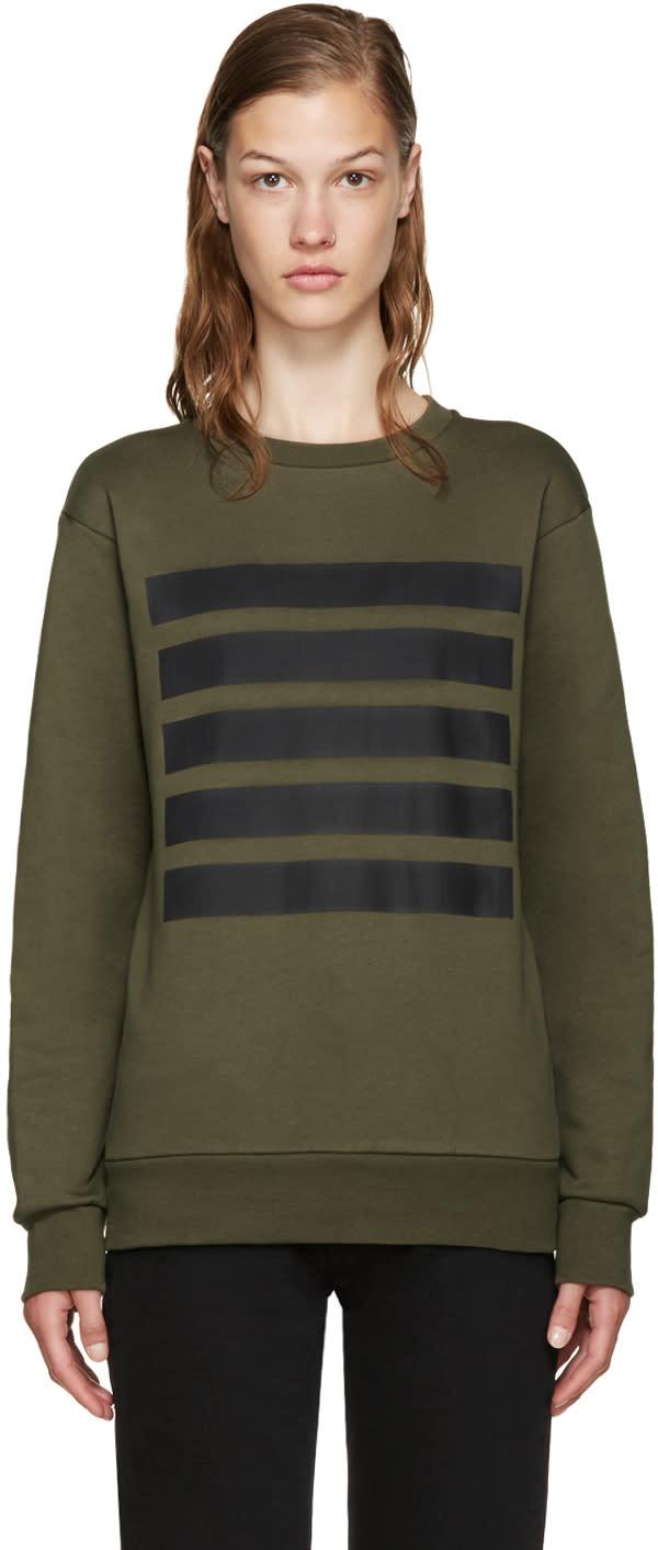 Palm Angels Green 5 Stripes Sweatshirt