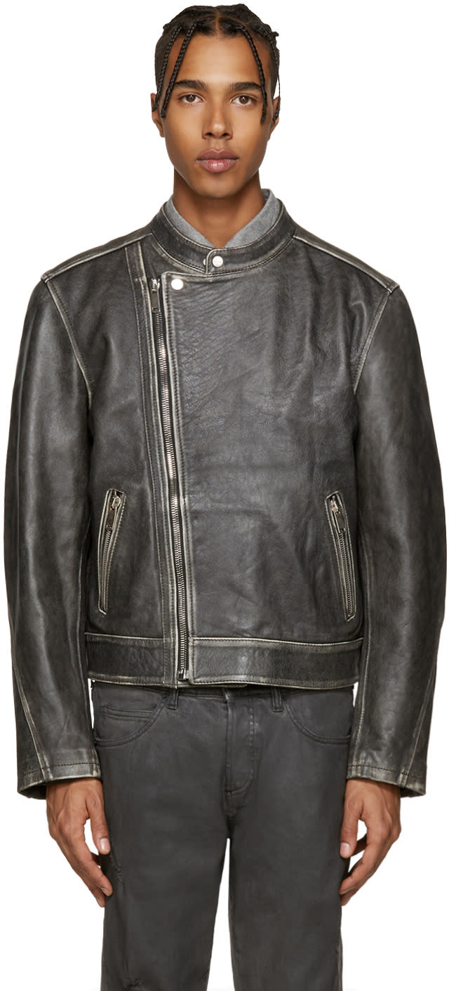 Palm Angels Black Leather Quote Biker Jacket