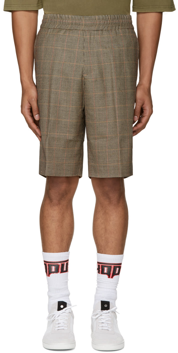 Palm Angels Brown Houndstooth Shorts