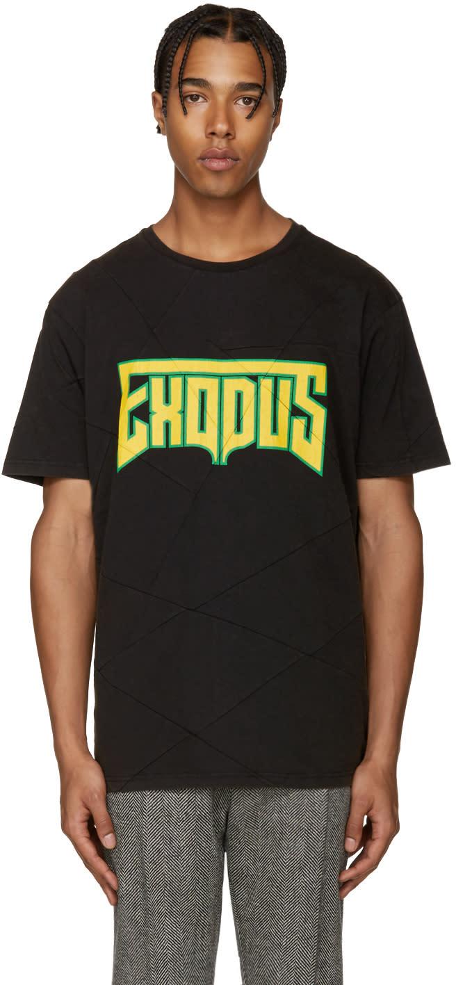 Palm Angels Black and Yellow Exodus T-shirt