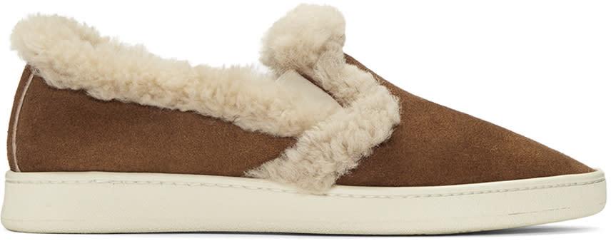 Palm Angels Brown Shearling Slip-on Sneakers