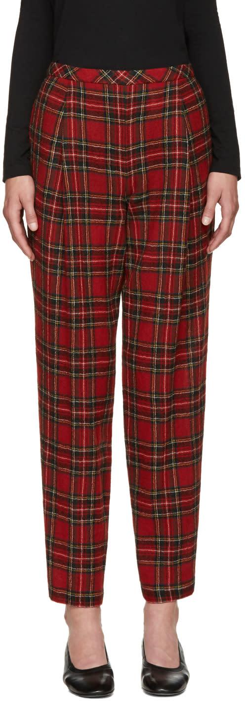 Rosetta Getty Red Wool Tartan Trousers