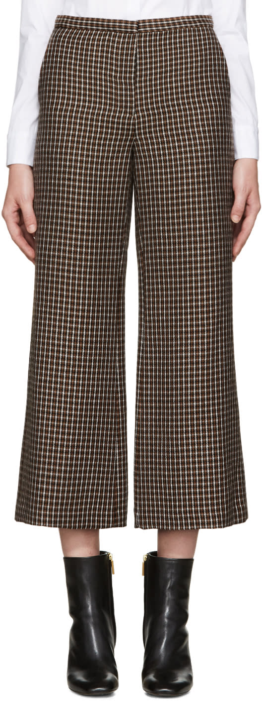 Rosetta Getty Brown Check Flared Trousers
