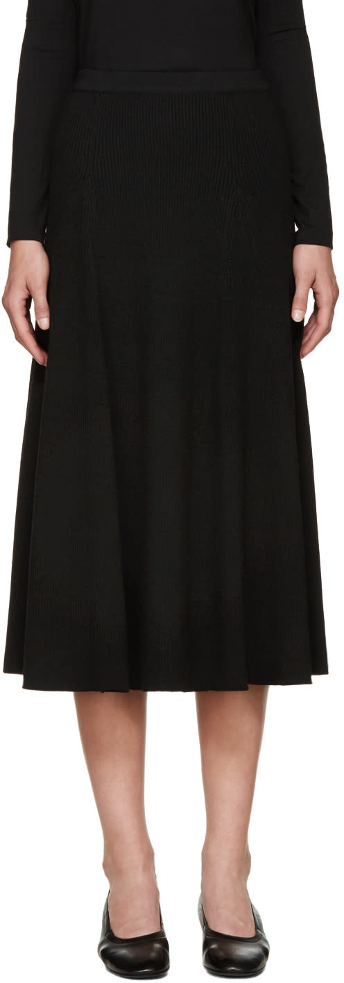 Rosetta Getty Black Wool Ribbed Flared Skirt