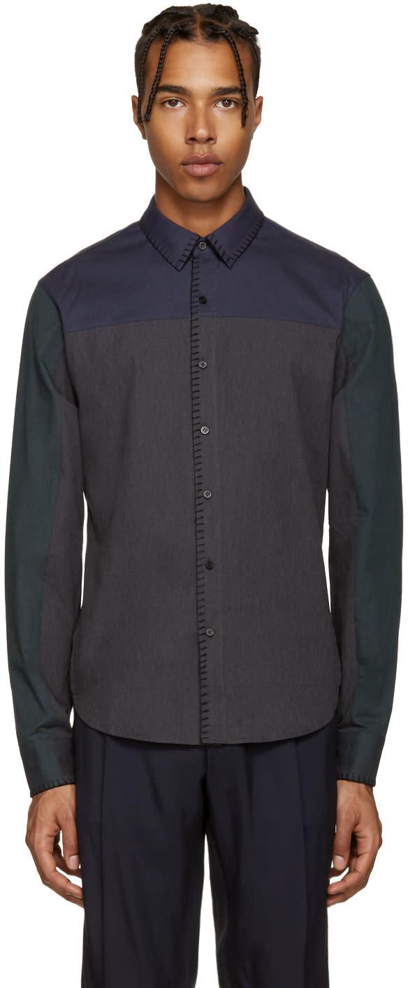 Wooyoungmi Grey Blanket Stitch Shirt