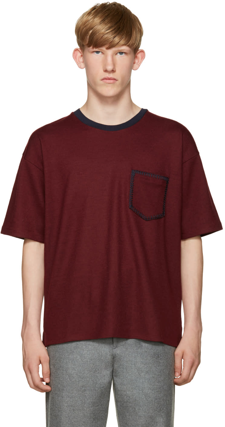 Wooyoungmi Burgundy Wool T-shirt