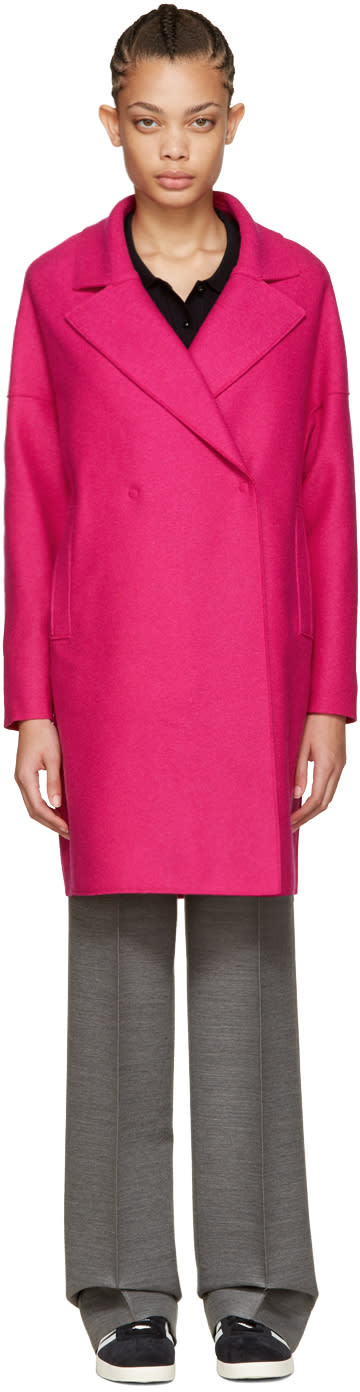 Harris Wharf London Pink Wool Oversized Collar Coat