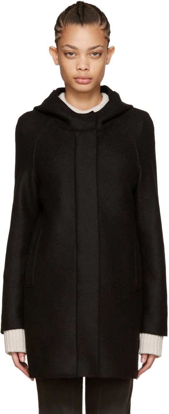 Harris Wharf London Black Wool Polaire Parka