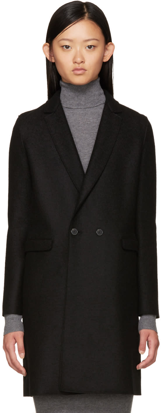 Harris Wharf London Black Wool Double-breasted Coat